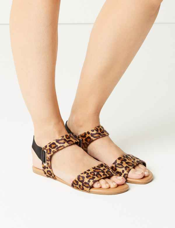 2dc9824994 Ring Detail Animal Print Two Band Sandals