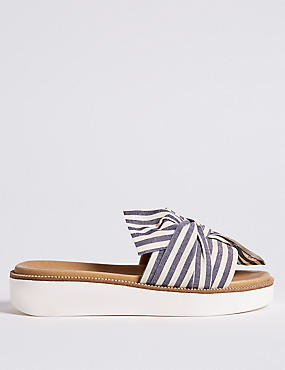 Striped Woven Knot Mule Sandals