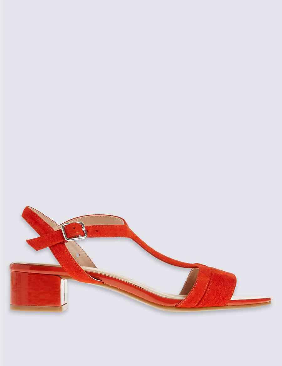 Suede Block Heel T-Bar Sandals