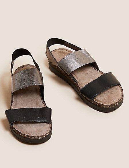 Leather Elastic Sandals