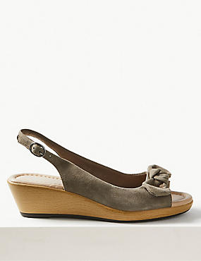 Suede Wedge Bow Sandals