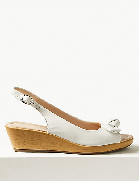 Leather Wedge Heel Bow Sandals