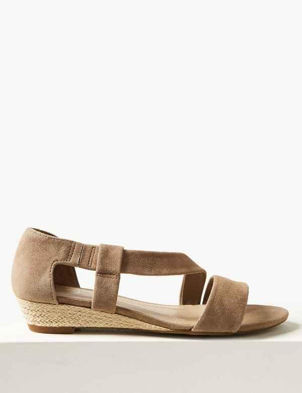 a90513d8a4f Suede Asymmetric Wedge Sandals