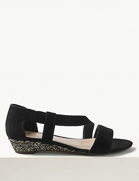 Suede Asymmetric Wedge Sandals