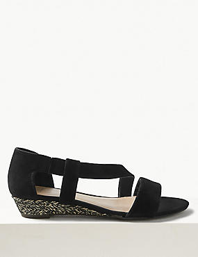 Suede Asymetric Wedge Sandals