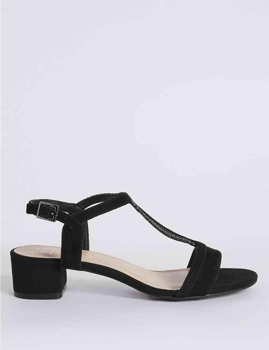 Leather Block Heel T-Bar Sandals