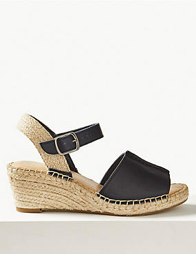 Leather Wedge Heel Espadrilles