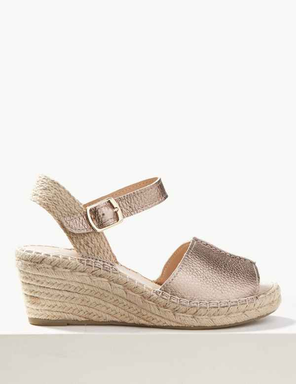 1f5783360e98 Leather Wedge Heel Espadrilles