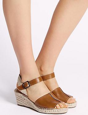 Leather Wedge Heel Espadrilles