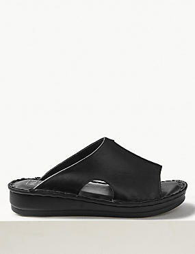 Leather Flatform Seamed Sliders