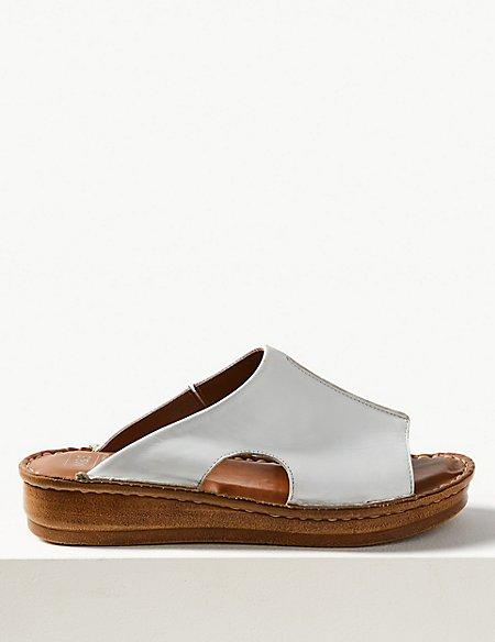 Leather Flatform Seamed Sliders