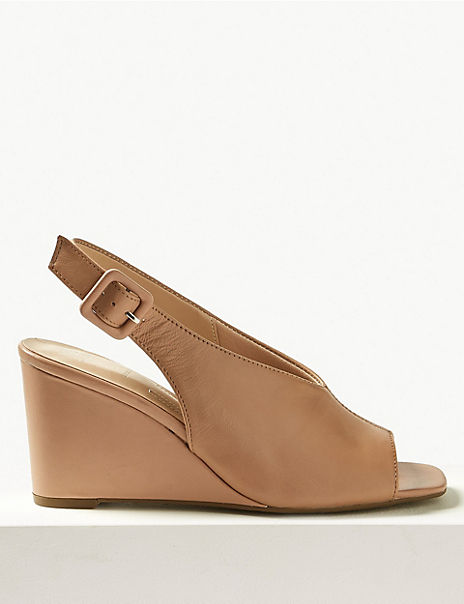 c8e8045eb9a Leather Wedge Heel Slingback Sandals