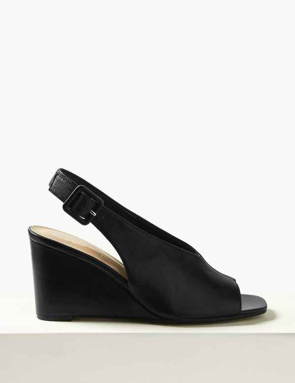 42d9ae88e65 Leather Wedge Heel Slingback Sandals