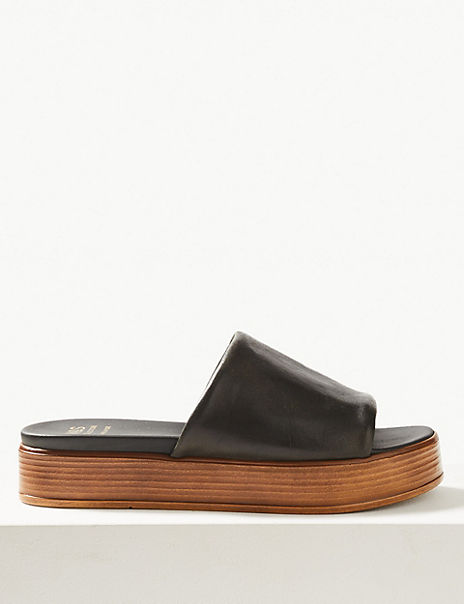 Leather Flatform Heel Mules