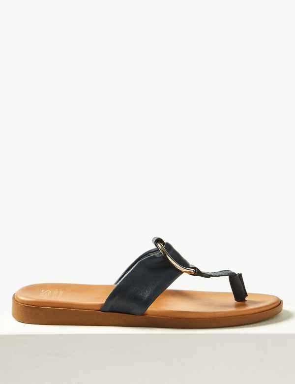 5e6bcb06fbf Leather Toe Thong Sandals