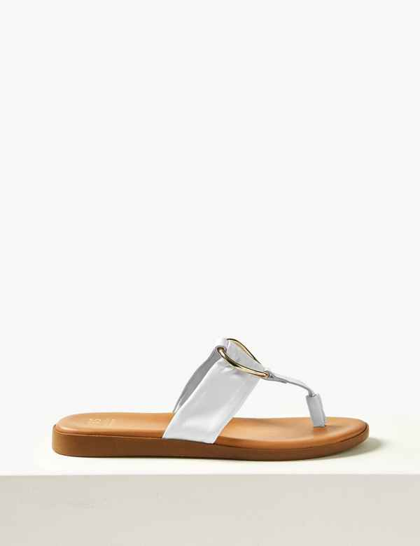 Leather Heel Toe Thong Sandals