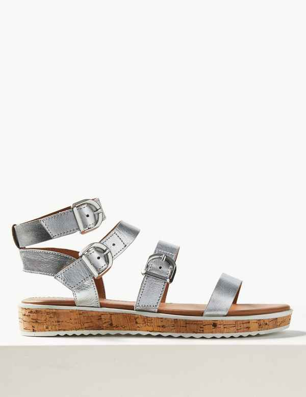 Leather Heel Gladiator Sandals