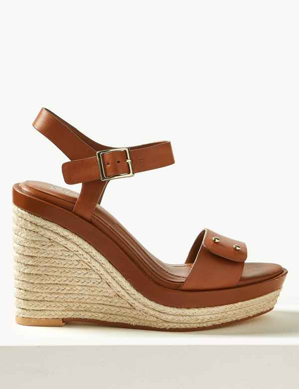 6691b213a53 Leather Wedge Heel Espadrilles