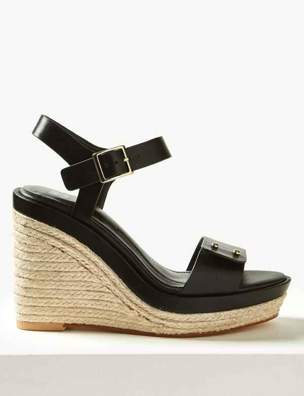 bae588761139 Leather Wedge Heel Espadrilles