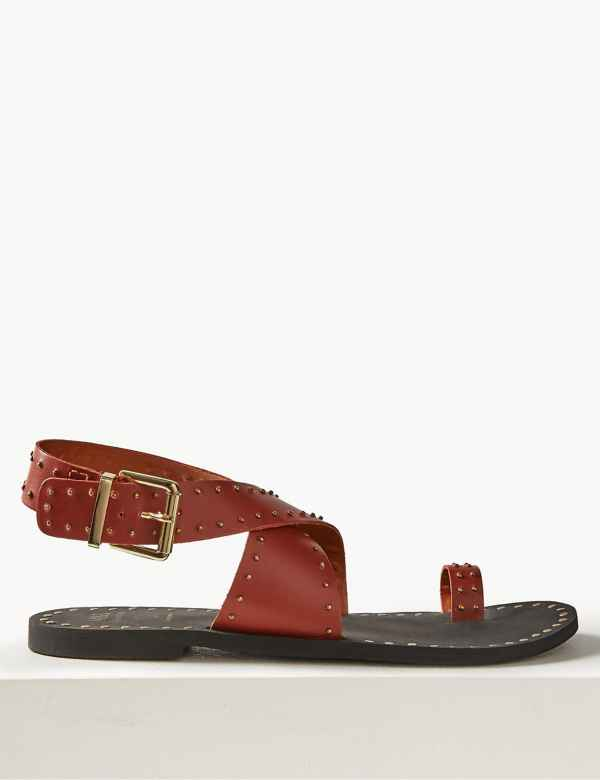 c8f1f269f4c2 Leather Studded Toe Thong Sandals