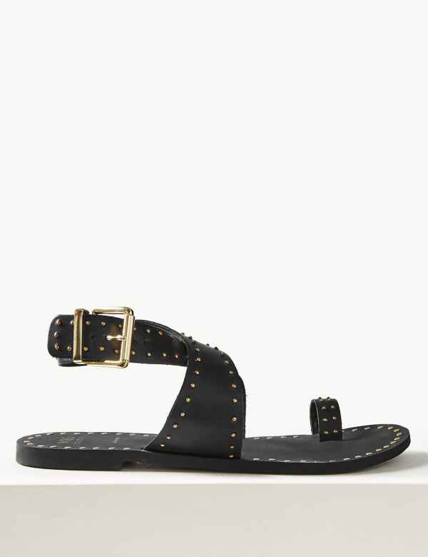 4138cdc0eb52 Leather Studded Toe Thong Sandals