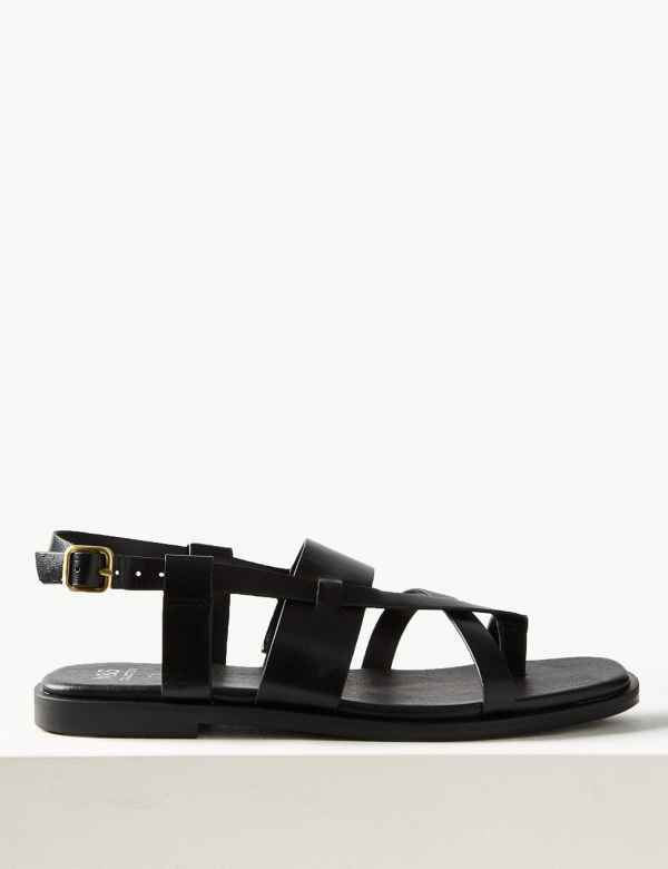 82e6d7ea6 Leather Cross Over Strap Sandals