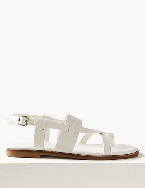 Leather Cross Over Strap Sandals