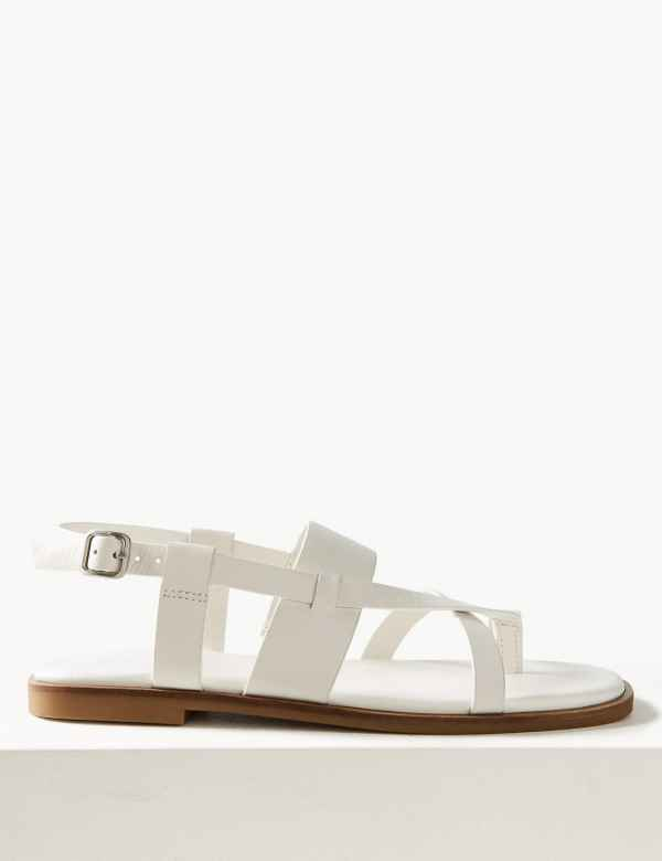 db07f9c48bd Leather Cross Over Strap Sandals