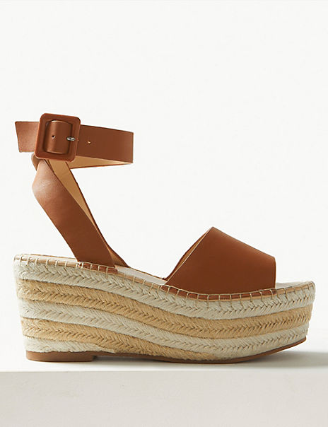 Leather Wedge Heel Espadrille Sandals