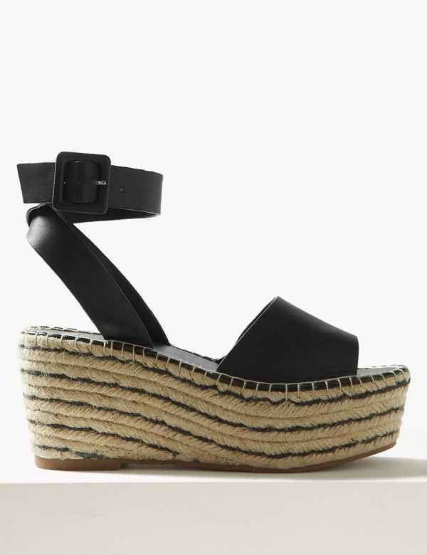 ccec116afeda1 Leather Wedge Heel Ankle Strap Sandals. Online Only