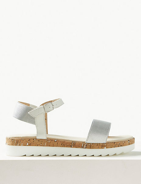 Leather Flatform Ankle Strap Sandals