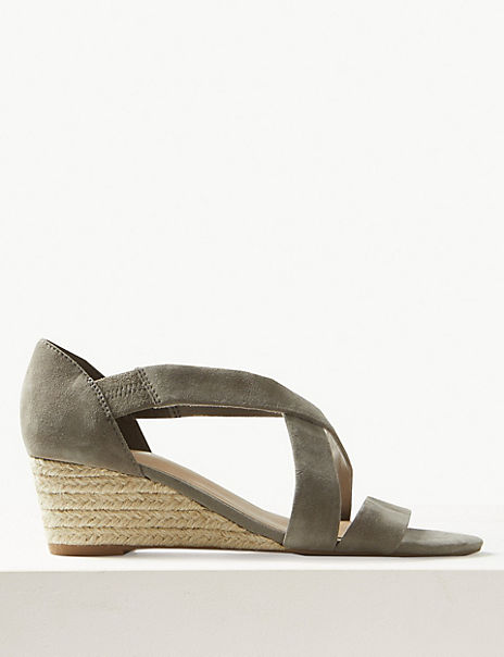 Suede Wedge Heel Crossover Strap Sandals