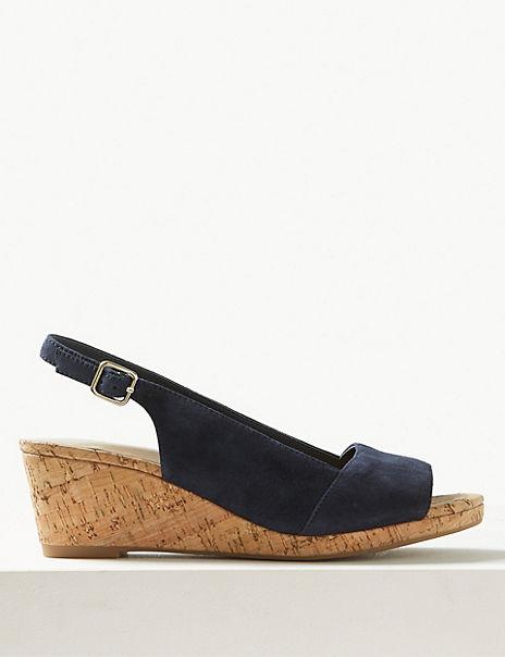 Suede Wedge Heel Slingback Sandals