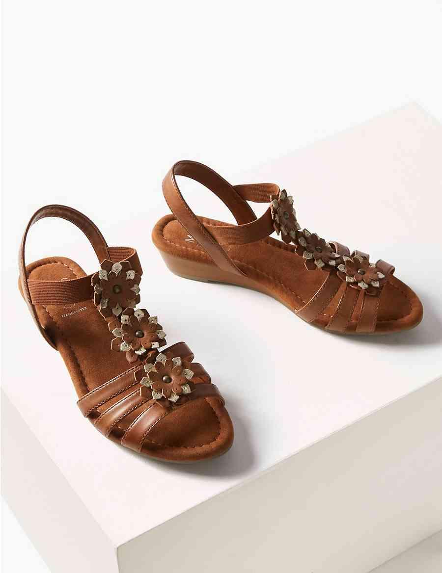 81881ce23567 Leather Wedge Heel Gladiator Sandals
