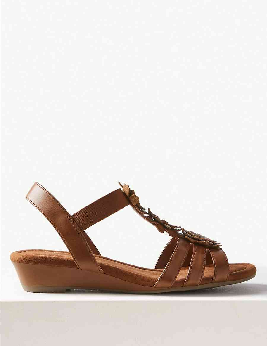 ee38eafc7d5 Leather Wedge Heel Gladiator Sandals
