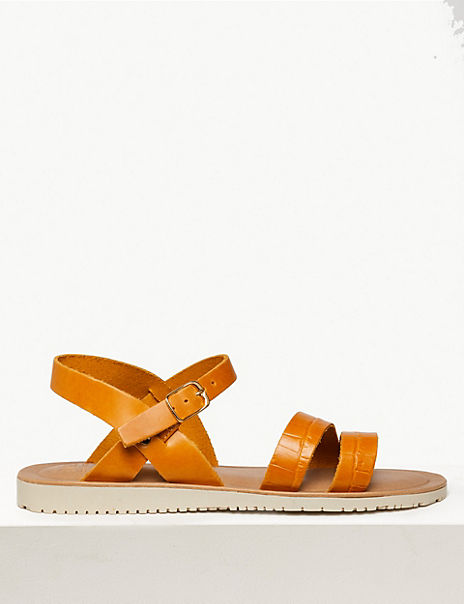 Leather Asymmetric Two Band Sandals