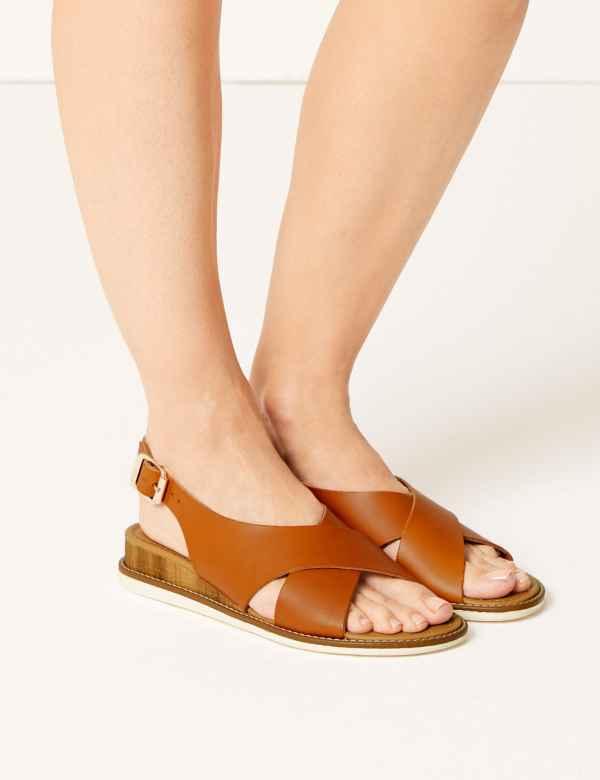 9383840036fd Leather Wedge Heel Cross Over Strap Sandals