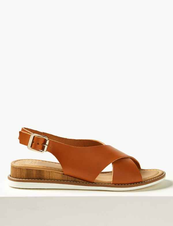f40d2551377 Leather Wedge Heel Cross Over Strap Sandals