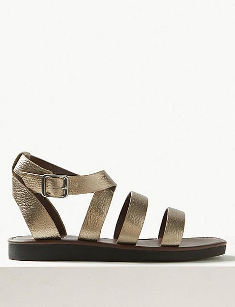 Leather Flatform Ankle Strap Sandals