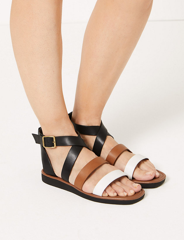 93796c3aa97 Leather Flatform Ankle Strap Sandals