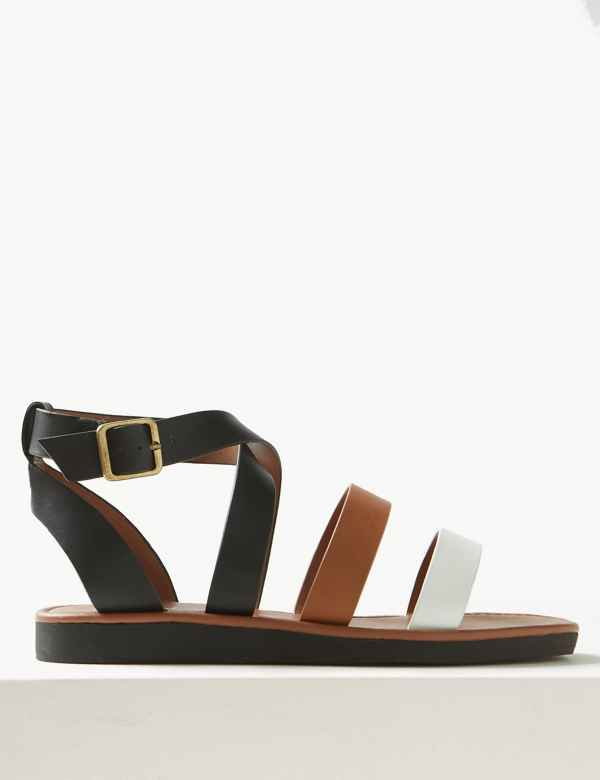 e9599e912f9 Leather Flatform Ankle Strap Sandals. New. M S Collection