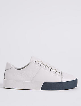 Leather Lace-up D-Ring Trainers