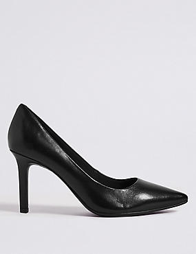Leather Stiletto Heel Pointed Court Shoes