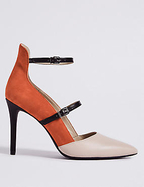 Leather Stiletto Heel Strap Court Shoes