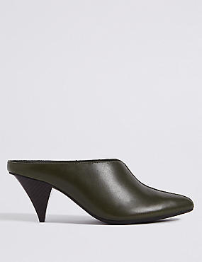 Leather Cone Heel Mule Shoes