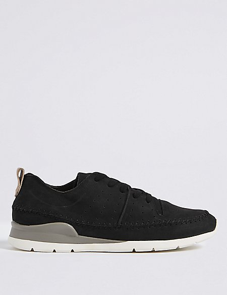 Suede Whipstitch Lace-up Trainers