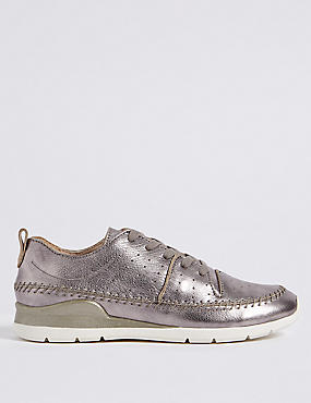 Leather Whipstitch Lace-up Trainers