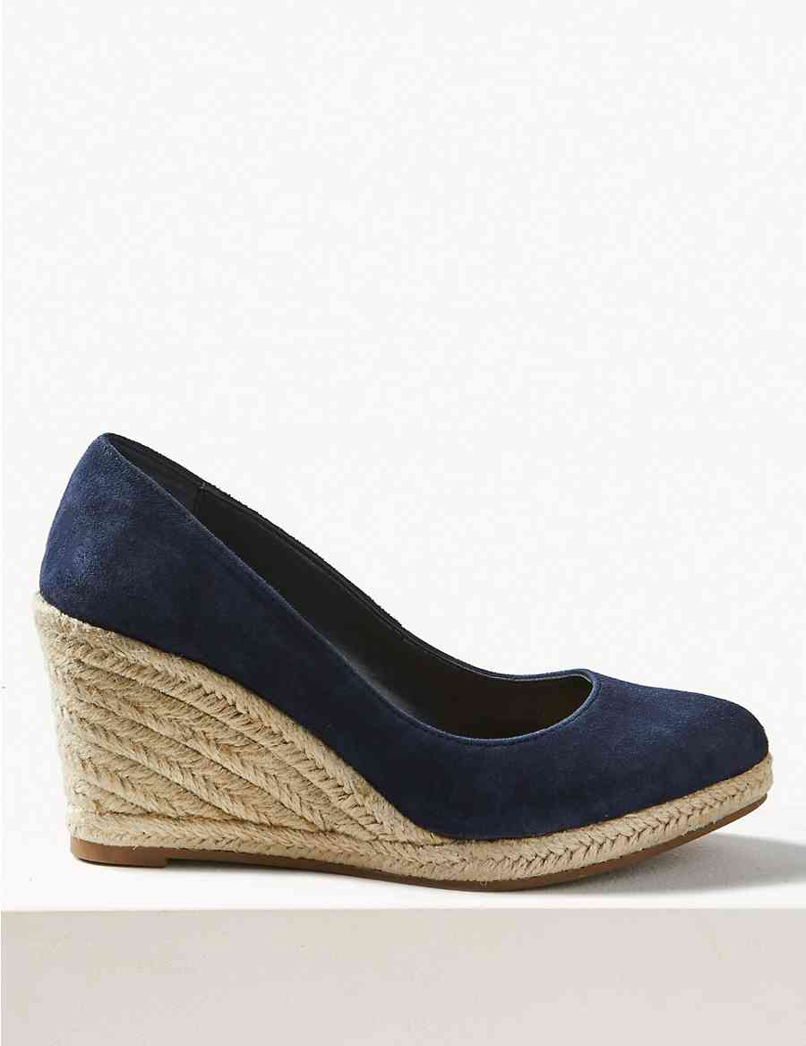 564cc67996a5 Suede Almond Toe Wedge Heel Espadrilles