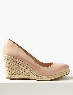 Leather Wedge Heel Almond Toe Espadrilles