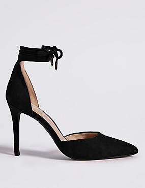 Suede Stiletto Heel Ankle Tie Court Shoes
